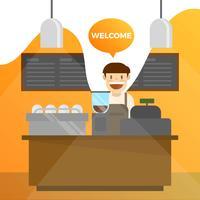 Barista plana e conjunto de café com ilustração em vetor fundo laranja gradiente