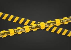aviso de cuidado com fitas em preto vetor