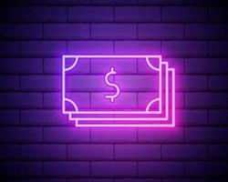 luz neon. ícone de linha de dinheiro vetor