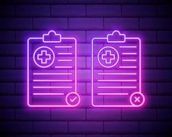 Prancheta médica de linha de néon brilhante com conjunto de ícones de registro clínico vetor