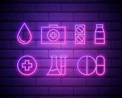 tópicos médicos ícones coloridos de néon em um fundo de parede de tijolos vetor