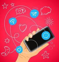 mãos com smartphones modernos. comunicação de rede de mídia social vetor