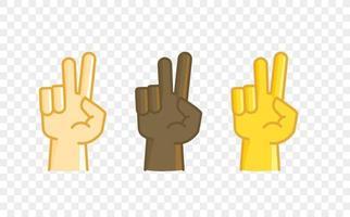 ícone de vetor de estilo cômico de gesto de mão de cor diferente. dois dedos
