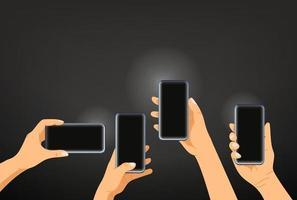 mãos com smartphones modernos. fazendo um modelo de vetor de foto
