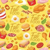padrão sem emenda de design saboroso de fast food vetor