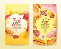 conjunto de banner de modelo de design saboroso de fast food vetor