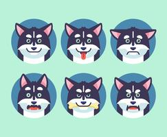 Cão Emoções Vector Set