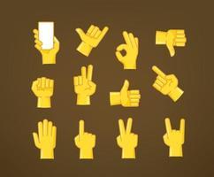 coleção de ícones vetoriais de estilo cômico com gesto de mão vetor