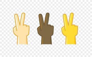 ícone de vetor de estilo cômico de gesto de mão de cor diferente. sinal de vitória