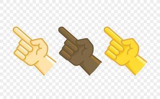 ícone de vetor de estilo cômico de gesto de mão de cor diferente