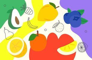 papel de parede artístico do doodle criativo com frutas. fundo abstrato com formas geométricas de cor mão desenhada. ilustração de estilo esboçado vetor