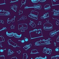 hipster doodle elementos vetoriais padrão sem emenda vetor