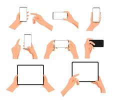 gesto humano usando smartphone moderno e computador tablet. clipart vetorial em camadas vetor