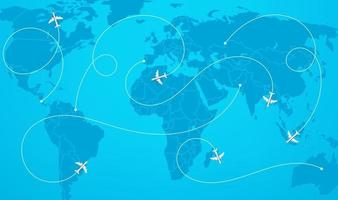 mapa-múndi com ilustração vetorial de rotas de aeronaves vetor