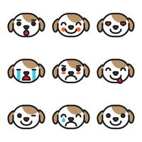 Delineado Emoji Dog Faces vetor