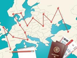 conceito de vetor de destinos de viagem com o mapa