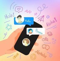 gesto humano usando smartphone moderno. diga olá em diferentes línguas vetor