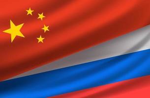 China e Rússia. fundo do vetor com bandeiras