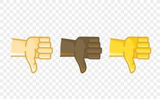 ícone de vetor de estilo cômico de gesto de mão de cor diferente. não gosto