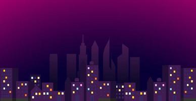 visão noturna da cidade moderna. distrito iluminado vetor