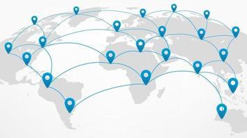 esquema abstrato da rede mundial no mapa mundial com alfinetes vetor