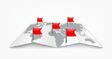 ilustração de viagem de mapa de papel com bandeiras vermelhas vetor