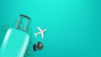 ilustração de viagens com bolsa, modelo de aeronave e selos. ilustração plana lay vetor