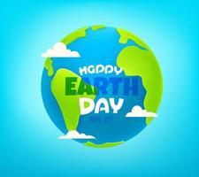 cartão de vetor de feliz dia da terra. Ilustração vetorial de estilo 3D