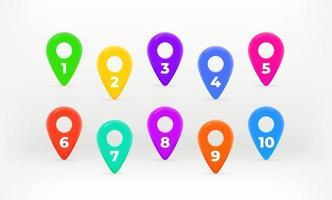 alfinetes de marcadores com dígitos coloridos. coleção de pinos de mapa. elementos vetoriais informativos vetor