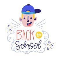 Menino engraçado personagem sorrindo com chapéu e mão Lettering sobre escola vetor