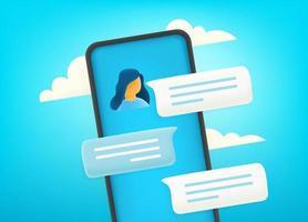 conversar via smartphone moderno. diálogo com jovem linda vetor