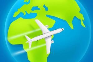 aviões de passageiros voando em velocidade máxima acima da África. aeronave moderna com rota de turbinas vetor