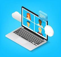 equipe trabalhando em conjunto via aplicativo de internet. ilustração vetorial de estilo 3D isométrico vetor