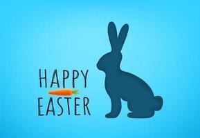 cartão de feliz Páscoa vetor com lebre e cenoura