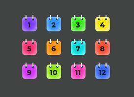 folhas de calendário coloridas com dígitos. modelo de balas de vetor informativo. 12 meses