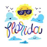 Personagem de sol bonito com nuvens sorrindo e letras coloridas sobre a Flórida vetor