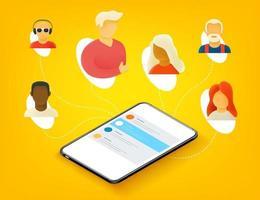 pessoas trabalhando juntas remotamente via aplicativo móvel vetor