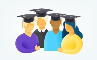 grupo de jovens estudantes com chapéu de formatura ilustração em vetor estilo 3d