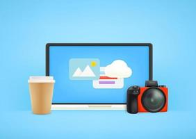 local de trabalho do fotógrafo. monitor de computador moderno com câmera e café vetor