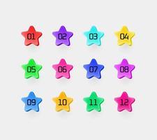 estrelas coloridas com dígitos. conjunto de marcadores de vetor informativo