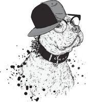 cachorro hipster em um boné e óculos. vetor