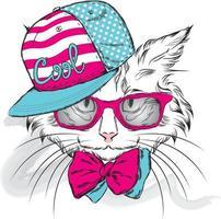 gato hipster com óculos e boné vetor