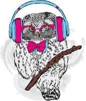 hipster engraçado de coruja com óculos e fones de ouvido. vetor