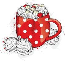 xícara com cacau e marshmallows. sobremesa e bebida. vetor