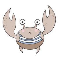 bonito caranguejo marinho em uma camiseta de colete marinho. vetor. desenho à mão, desenho colorido. vetor