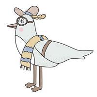 o pássaro é uma gaivota. o personagem fofinho é um pássaro macho de praia com chapéu, óculos e toalha de praia. vetor