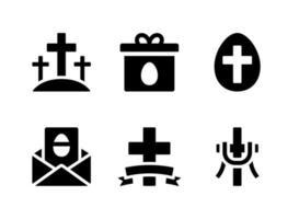 conjunto simples de ícones sólidos de vetor relacionados à Páscoa. contém ícones como calvário, presente, convite, cruz e muito mais.