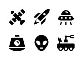 conjunto simples de ícones sólidos de vetor relacionados ao espaço. contém ícones como satélite, cápsula, alienígena, rover e muito mais.