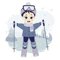 esporte de inverno. atleta de menino esquiando em um fundo decorativo com uma paisagem de inverno, árvores e neve. vetor