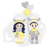 crianças no inverno. menino e menina com chifres de veado em suas cabeças e balões em um fundo cinza. vetor